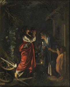 Demeter trinkt den Kykeon der Metaneira und wird von Askalabos verspottet. Gemälde von Adam Elsheimer, 1562. (gemeinfrei)