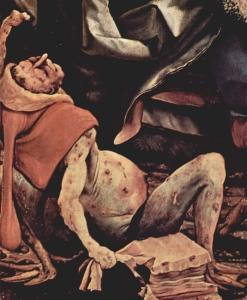 Ein am Antoniusfeuer Leidender auf dem innersten Wandelbild (Versuchungen des heiligen Antonius, gemeinfrei)